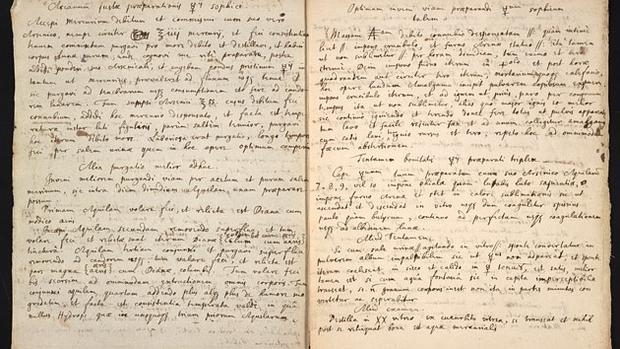 El manuscrito escrito por Newton