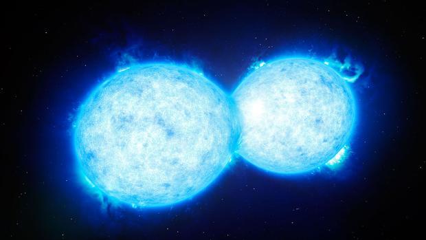 Representación de una estrella binaria de contacto. Se cree que la explosión de una así provocará la aparición de un nuevo punto de luz en el cielo nocturno