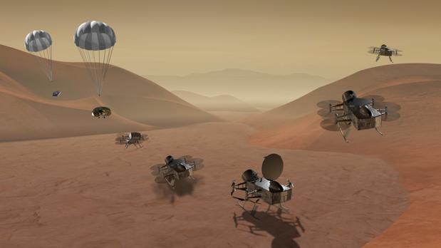 La misión «Dragonfly» exploraría la superficie de Titán para estudiar la superficie y la atmósfera de la luna. La misión al cometa recogería muestras de 67P/Churyumov Gerasimenko