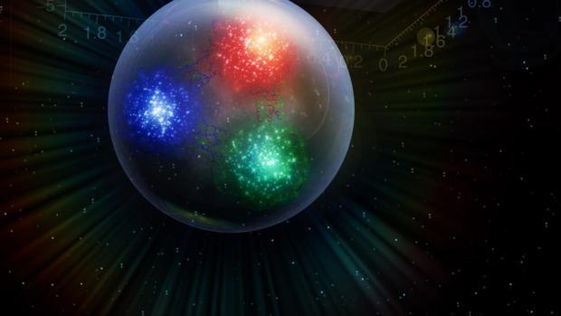 Los cuarks, los «ladrillos» que constituyen los protones (en color, en la imagen), están sometidos a presiones enormes