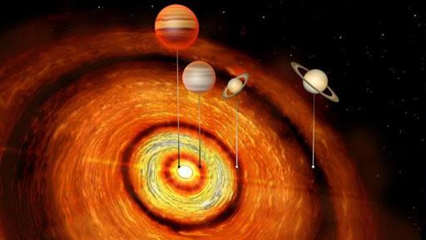Identifican un joven sistema solar con cuatro planetas gigantes