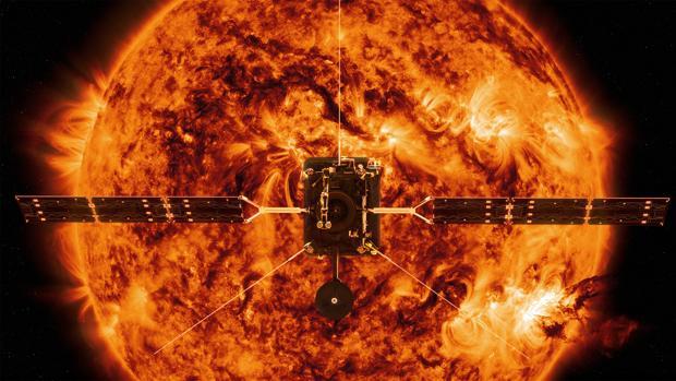 Recreación de la Solar Orbiter frente al Sol