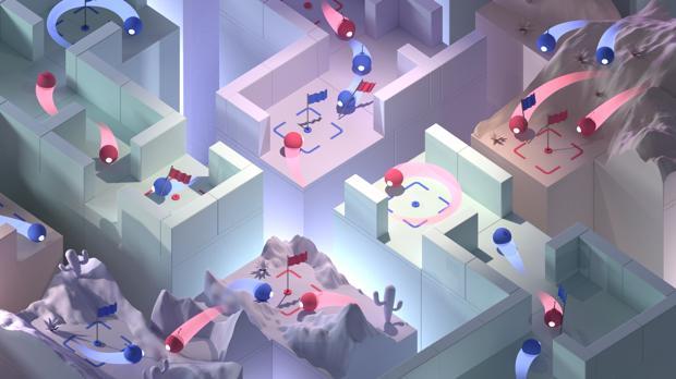 Esquema de varias tácticas adoptadas por la IA para vencer en partidas en las que debía capturar la bandera del enemigo y evitar la toma de la propia