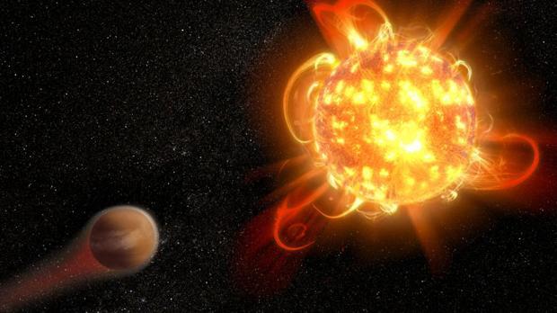 Representación artística de una superllamarada en una estrella