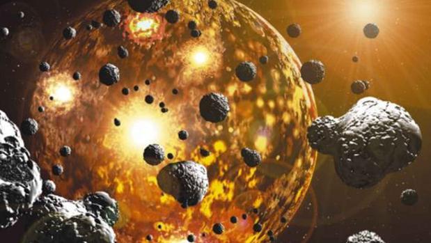 Ilustración del Gran Bombardeo, la época en que multitud de asteroides chocaron con los planetas interiores del Sistema Solar