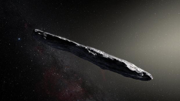 Recreación artística del viajero interestelar bautizado como Oumuamua