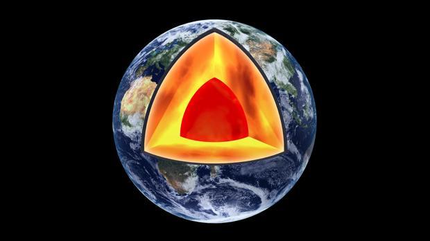 El interior de la Tierra: en el fondo, el núcleo, seguido por el manto. La corteza terrestre comienza 35 km por debajo de la superficie