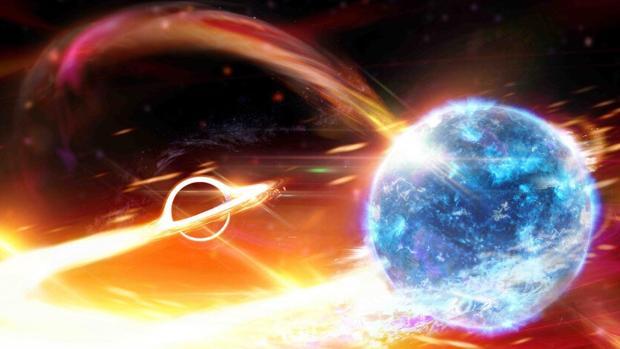 Representación de la fusión de un agujero negro (izquierda) y una estrella de neutrones (derecha)