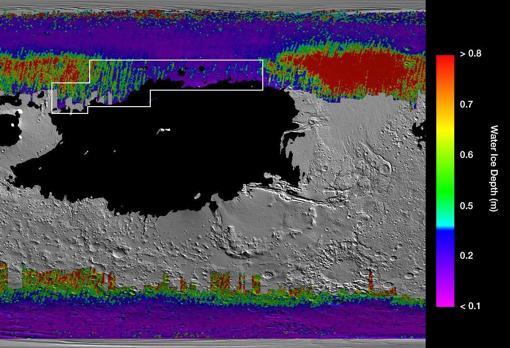 Mapa con la distribución del hielo subterráneo de Marte. En morado y azul, el más próximo a la superficie. En rojo, el más profundo