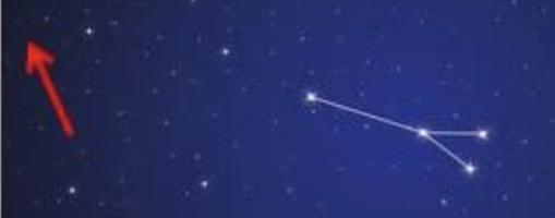 Situación de la constelación de Sagitta, con la futura nova señalada con una flecha roja