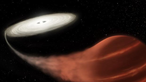Ilustración de una enana blanca (izquierda) y una enana marrón (derecha). La blanca está canibalizando el gas de la marrón y forma un disco que estalla cada cierto tiempo