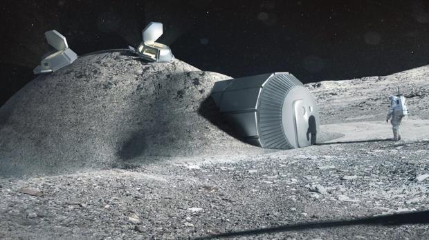 La ilustración muestra un diseño de hábitat en la Luna