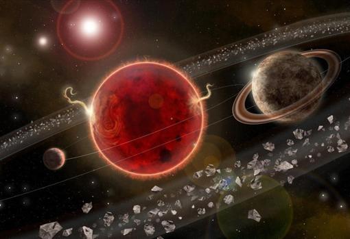 Representación artística de un sistema solar en la estrella Próxima Centauri (en el centro)