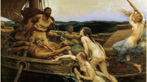 Ulises y las Sirenas en un cuadro de Herbert James Draper