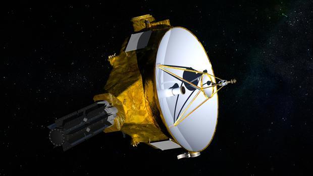 Representación de la sonda «New Horizons», en este momento a una distancia de la Tierra de seis horas y media luz