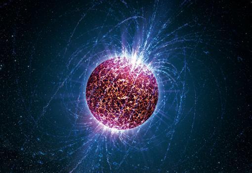 Representación de una estrella de neutrones