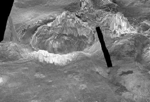 Esta representación en 3D muestra dos coronas observadas en la superficie de Venus. Las estructuras en forma de anillo se forman cuando el material caliente de las profundidades del planeta se eleva a través del manto y entra en erupción a través de la corteza.. La línea negra representa una brecha en los datos