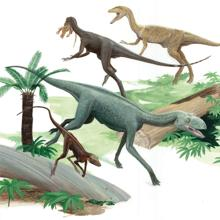 Artist's rendering of Dromomeron (foreground) and dinosaurs and associated relatives, based on fossils from Ghost Ranch, New Mexico