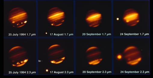 Esta imagen, tomada con el telescopio MPG/ESO de 2,2 metros y el instrumento IRAC, muestra al cometa Shoemaker Levy 9 impactando sobre Júpiter en julio de 1994