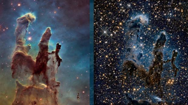 A la izquierda, los 'Pilares de la creación' captados por el telescopio Hubble. A la derecha, cómo verá la misma imagen el telescopio James Webb