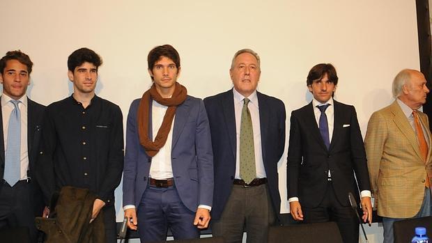 Posada de Maravillas, López Simón, Federico Arnás, Diego Ventura y José Luis Lozano, en el Aula Bienvenida