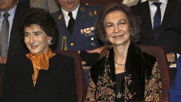 Paloma O'Shea y Doña Sofía, durante el homenaje sorpresa de la Escuela Superior de Música