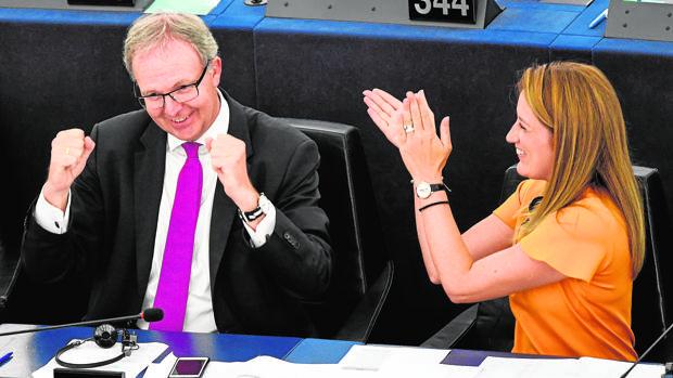 El eurodiputado popular, Axel Voss, a la izquierda, celebra la aprobación de la directica de derechos de autor en el Parlamento Europeo