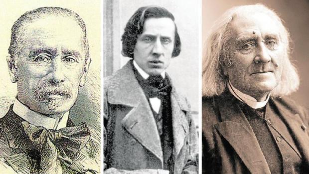Siendo muy joven, Juan María Guelbenzu se traslada a París, donde traba amistad con Frédéric Chopin, Franz Liszt (en la imagen, los tres, de izquierda a derecha), Giacomo Meyerbeer y Sigismund Thalberg, virtuosos pianistas y compositores