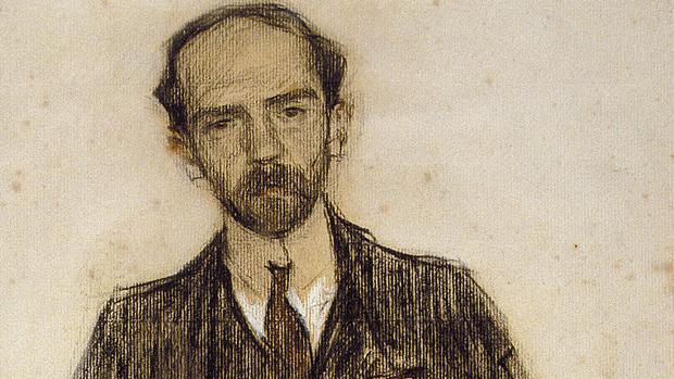 Retrato de Baroja realizado por Ramón Casas en 1904