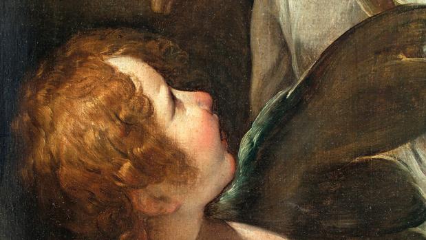 Detalle del «Retrato de dama de poco más de medio cuerpo con Cupido»
