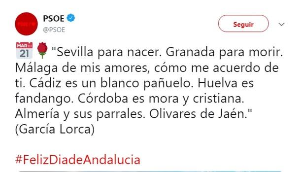 Tuit del PSOE en el que citaba erróneamente a Lorca