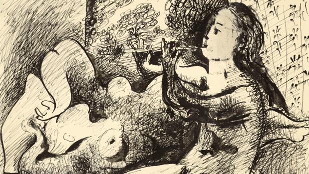 Detalle del dibujo «Jouese de flûte et nu couché» de Picasso que saldrá a subasta en París