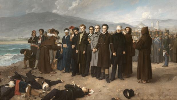 «Fusilamiento de Torrijos y sus compañeros en las playas de Málaga», de Antonio Gisbert. Óleo sobre lienzo, 390 por 601 centímetros, 1888