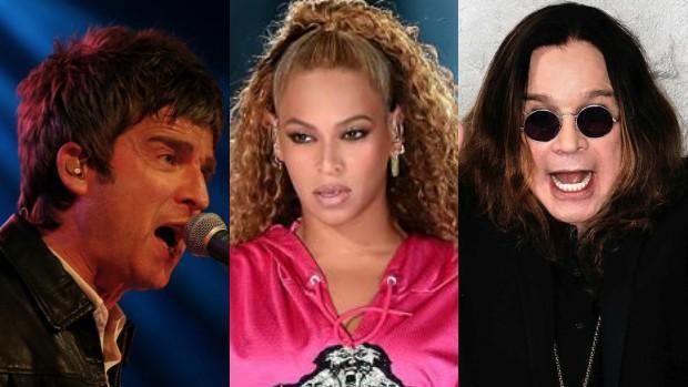 (De izq. a dcha.) Noel Gallagher, Beyoncé y Ozzy Osbourne