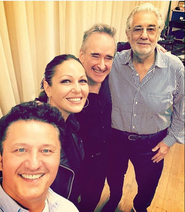 Piotr Beczala, Nino Marchaidze, James Conlon y Plácido Domingo, ayer en Salzburgo