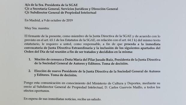 Carta presentada por José de Eusebio pidiendo una moción de censura