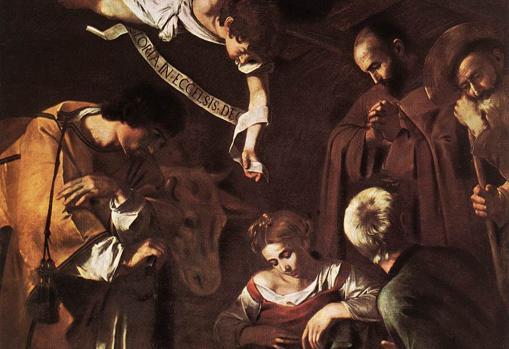 Detalle de la «Natividad», de Caravaggio, robado por la mafia en el oratorio de la iglesia de San Lorenzo de Palermo (Sicilia)