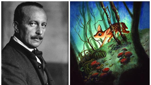 A la izquierda, Félix Salten, a la derecha, ilustración de Benjamin Lacombe para «Bambi. Una vida en el bosque» (Edelvives)