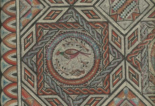 Detail drawn by Osset of the main mosaic of the town of Rienda