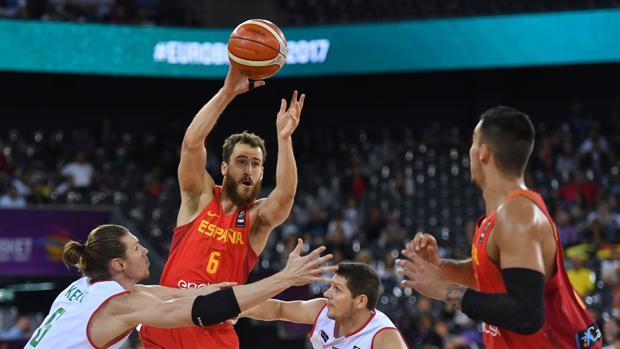 La selección española, contra Hungría