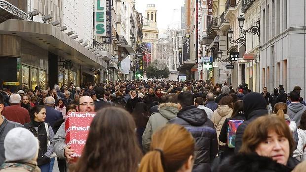 Compras navideñas en el centro de Madrid