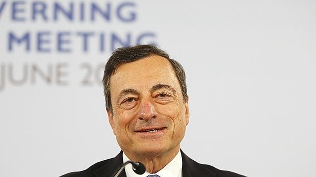 Mario Draghi, durante su reunión del BCE ayer