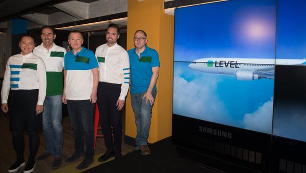 Presentación de Level. con Luis Gallego, presidente de Iberia, Willie Walsh, CEO de IAG y Javier Sánchez Prieto, presidente de Vueling