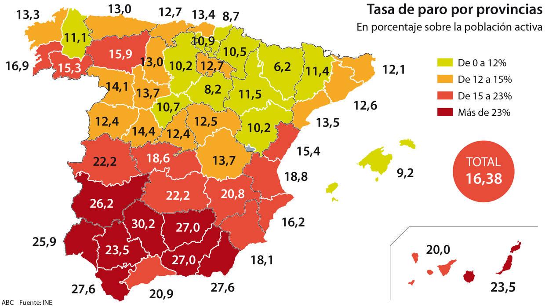 El Mapa Del Paro En España Las Peores Y Mejores Provincias Para Encontrar Trabajo