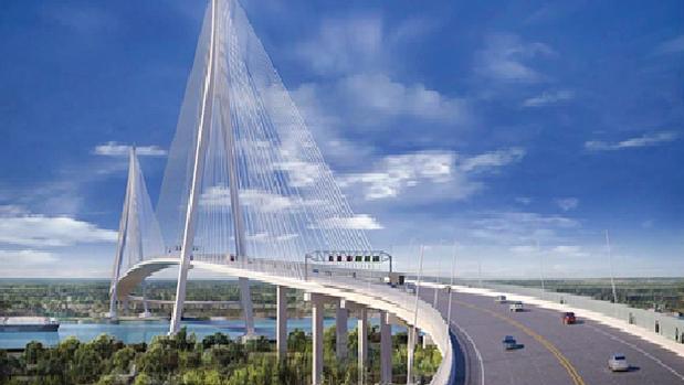 Maqueta del puente atirantado más largo de EE.UU. que se adjudicó recientemente a ACS