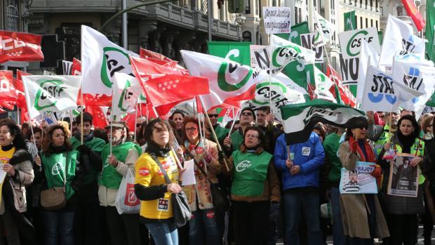 Imagen de archivo de una manifestación de funcinoarios