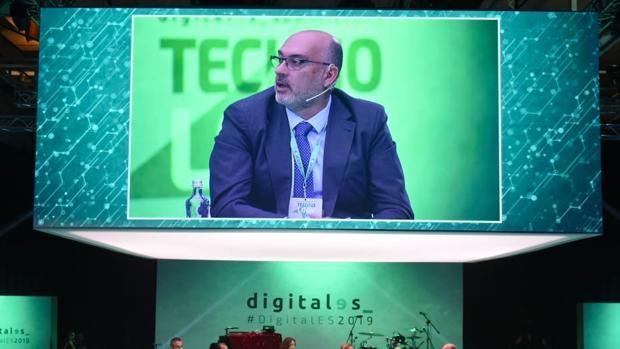El presidente de Telefónica España, Emilio Gayo, durante su intervención en la segunda edición del DigitalEs Summit, organizado por la asociación española para la digitalización DigitalEs