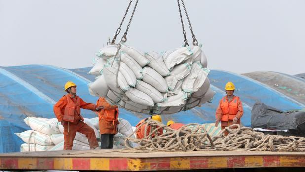 Operarios transportan bolsas de habas de soja en un puerto de soja