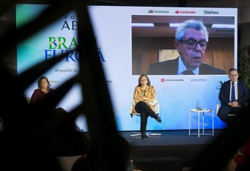 The Brazilian Vice Minister of Economy and Foreign Trade, Roberto Fendt, on the screen, during one of his speeches