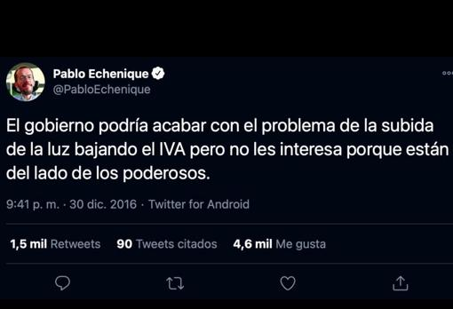 Pablo Echenique defends the lowering of VAT on electricity on his Twitter account in 2016
